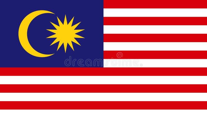 Malaysia flaggasymbol i plan stil Nationell teckenvektorillustration Klok aff?rsid? royaltyfri illustrationer