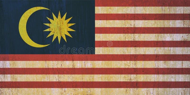 Malaysia-Flaggenhintergrund in der Weinleseart stockfotos