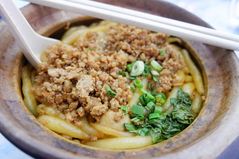 Malaysia Food minced pork with Noodle. And Vegetable stock photo