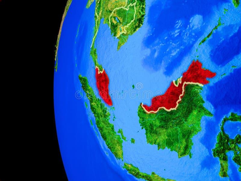 Malaysia från utrymme stock illustrationer