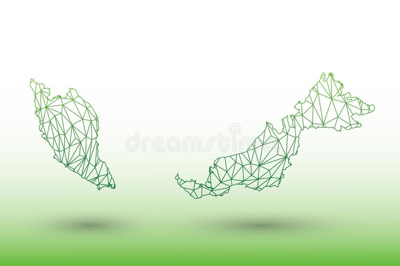 Malaysia map vector of green color geometric connected lines using triangles on light background illustration meaning strong netwo stock illustration