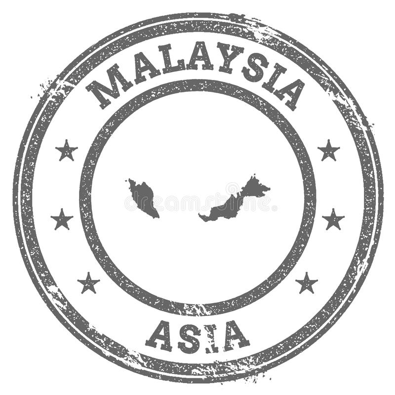 Malaysia grunge rubber stamp map and text. royalty free illustration
