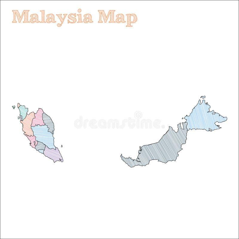 Malaysia hand-dragen översikt stock illustrationer