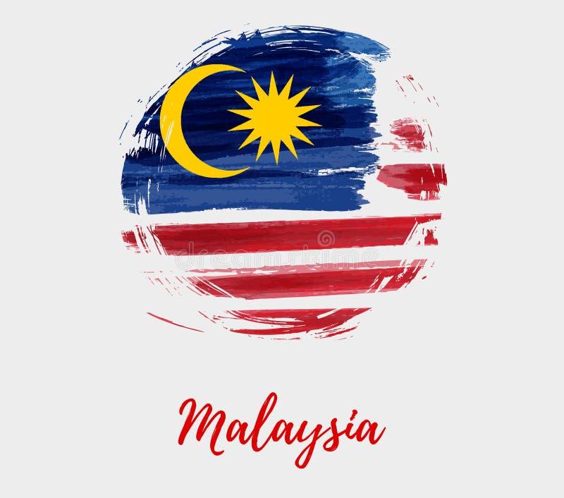 Malaysia-Hintergrund mit Flagge in der runden Schmutzform lizenzfreie abbildung