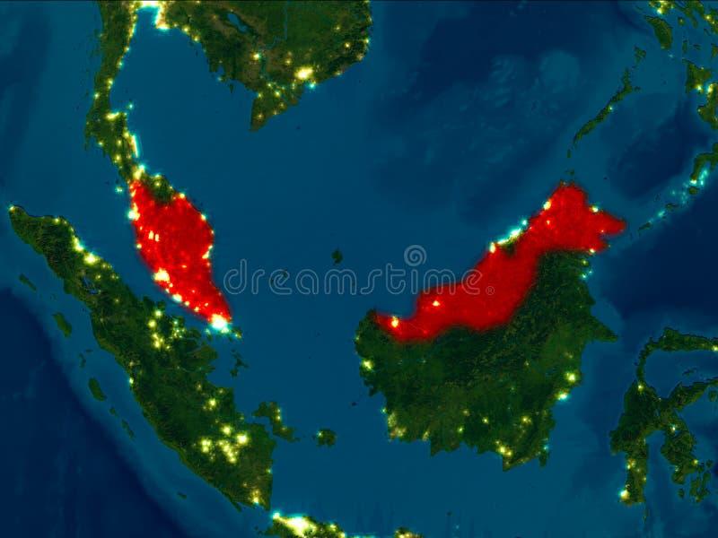 Malaysia i rött på natten vektor illustrationer