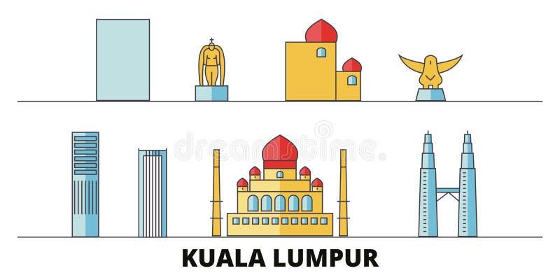 Malaysia illustration för Kuala Lumpur plan gränsmärkevektor Malaysia Kuala Lumpur linje stad med berömda loppsikt royaltyfri illustrationer