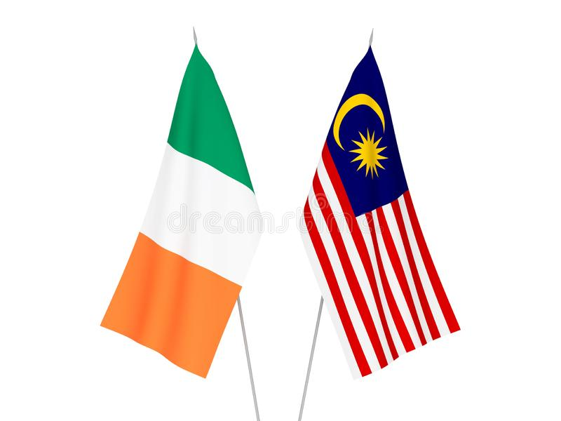 Malaysia and Ireland flags. National fabric flags of Malaysia and Ireland isolated on white background. 3d rendering illustration royalty free illustration