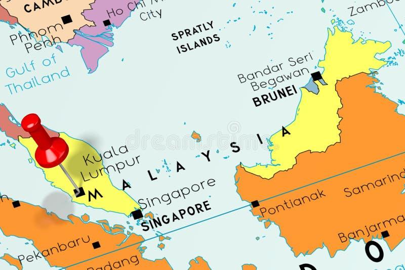 Malaysia, Kuala Lumpur - capital city, pinned on political map royalty free illustration