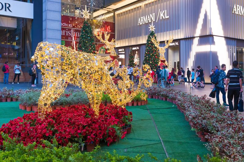 Malaysia, Kuala Lumpur - 2017 December 07: Pavilion shopping mall decorated for Christmas and New 2018 Year royalty free stock photo