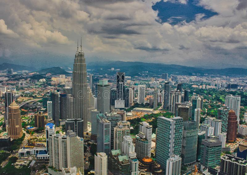 Malaysia, Kuala Lumpur, view from the observation deck of the Minara Tower. Petronas Towers. Skyscrapers in Malaysia, menara, cityscape, tv, landscape, skyline stock images
