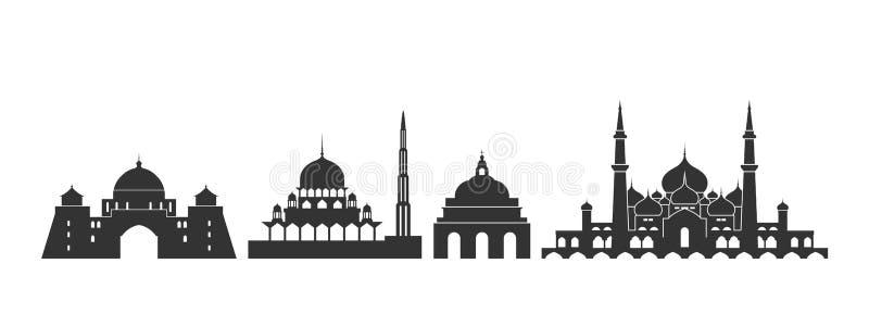 Malaysia logo Isolerad malaysisk arkitektur p? vit bakgrund vektor illustrationer