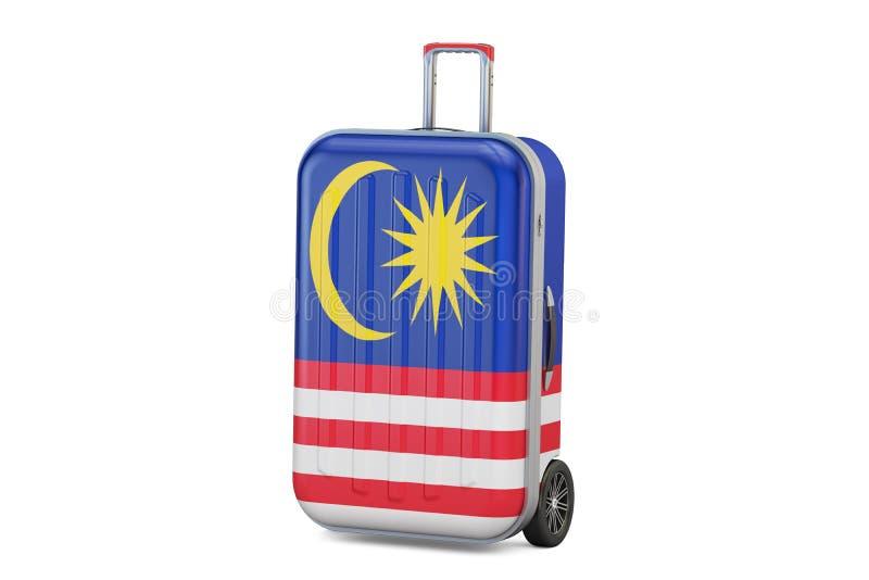 Malaysia loppbegrepp, resväska med den malaysiska flaggan 3d framför royaltyfri illustrationer