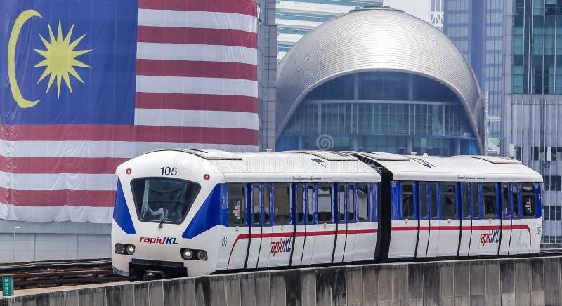 Malaysia LRT train. KUALA LUMPUR, MALAYSIA - SEPTEMBER 12, 2017 : Malaysia Light Railway Transit LRT train operated by Rapid Rail or service brand RapidKL stock images