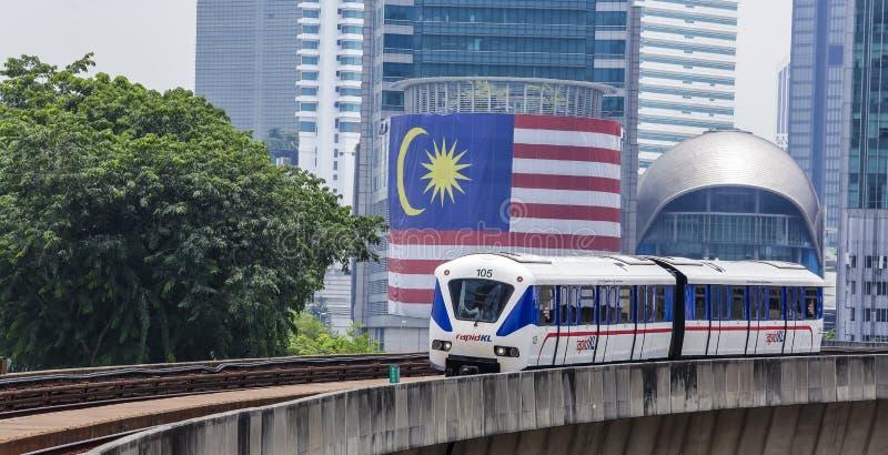 Malaysia LRT train. KUALA LUMPUR, MALAYSIA - SEPTEMBER 12, 2017 : Malaysia Light Railway Transit LRT train operated by Rapid Rail or service brand RapidKL royalty free stock photography