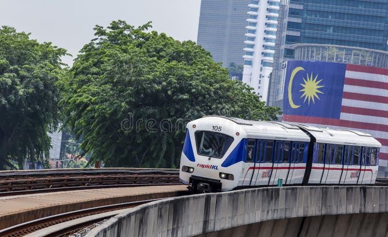 Malaysia LRT train. KUALA LUMPUR, MALAYSIA - SEPTEMBER 12, 2017 : Malaysia Light Railway Transit LRT train operated by Rapid Rail or service brand RapidKL royalty free stock photo