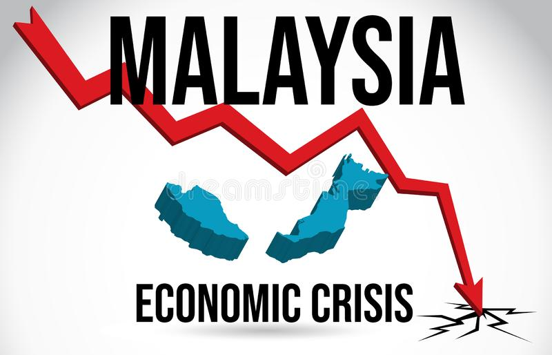Malaysia Map Financial Crisis Economic Collapse Market Crash Global Meltdown Vector stock illustration