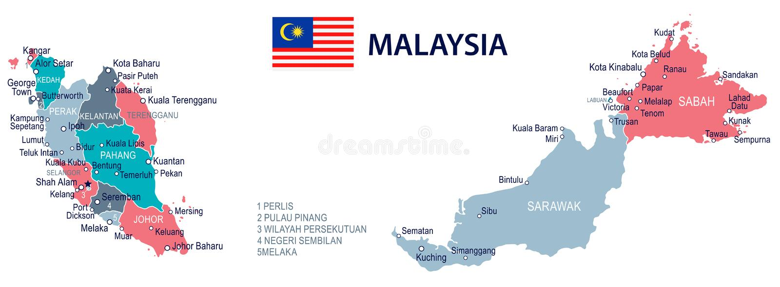 Malaysia Map And Flag Illustration Stock Illustration