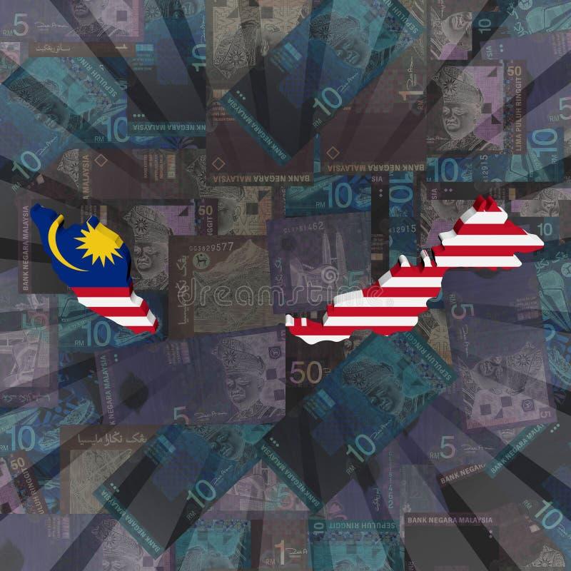 Malaysia map flag on Ringitt burst illustration royalty free illustration