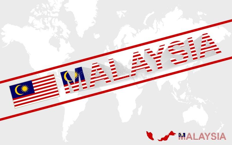 Malaysia map flag and text illustration royalty free illustration