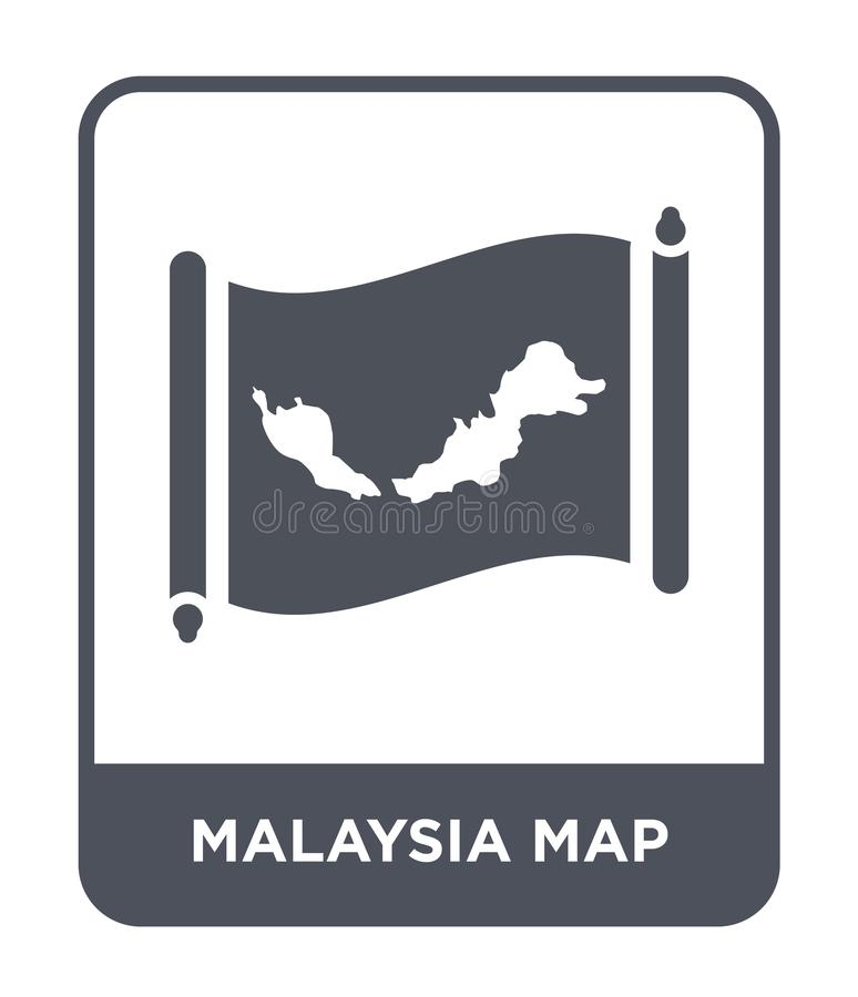 Malaysia map icon in trendy design style. malaysia map icon isolated on white background. malaysia map vector icon simple and. Modern flat symbol for web site royalty free illustration