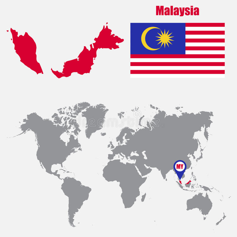 Malaysia Map On A World Map With Flag And Map Pointer Vector
