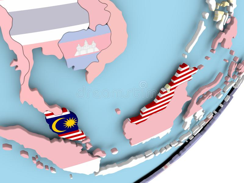 Malaysia med flaggan royaltyfri illustrationer