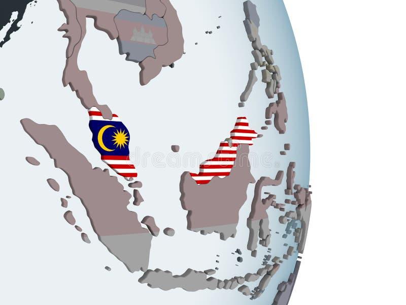 Malaysia med flaggan på jordklotet royaltyfri illustrationer
