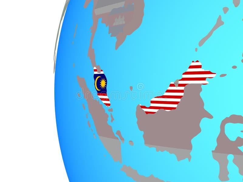 Malaysia med flaggan på jordklotet stock illustrationer