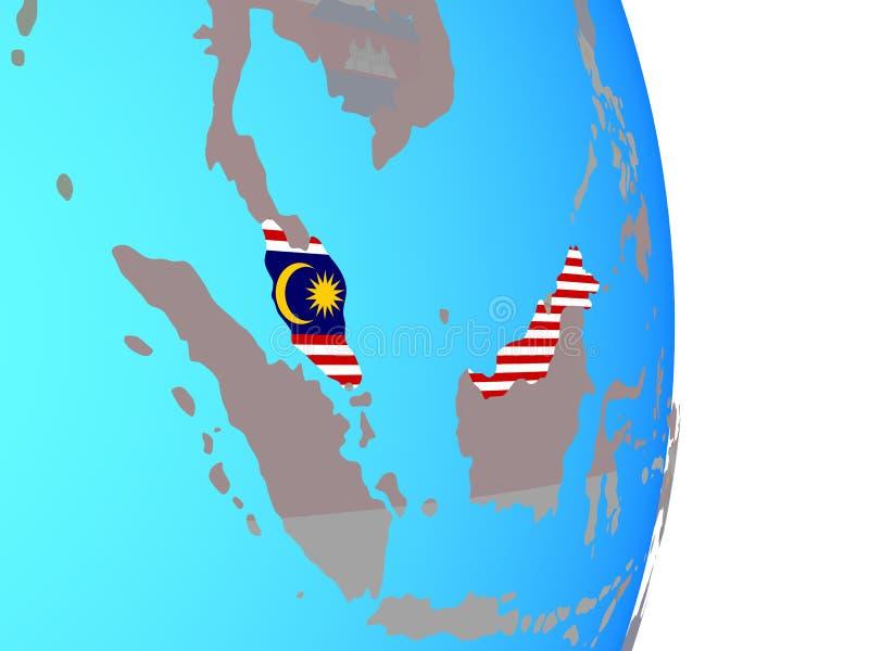 Malaysia med flaggan på jordklotet vektor illustrationer