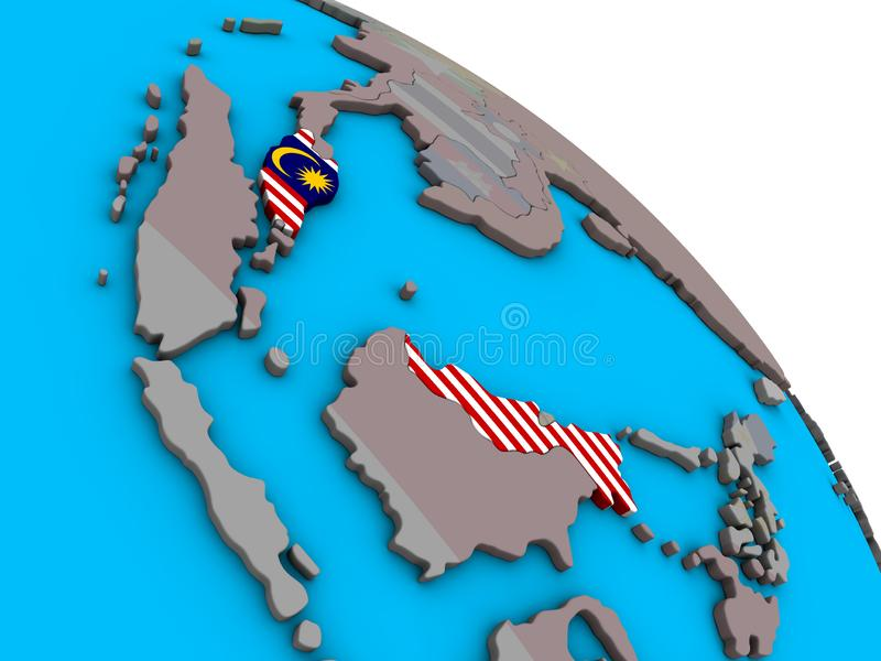 Malaysia med flaggan på jordklotet 3D vektor illustrationer