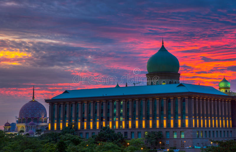 Malaysia Modern Office Building III. Office building in Malaysia with traditional design at sunset stock photo
