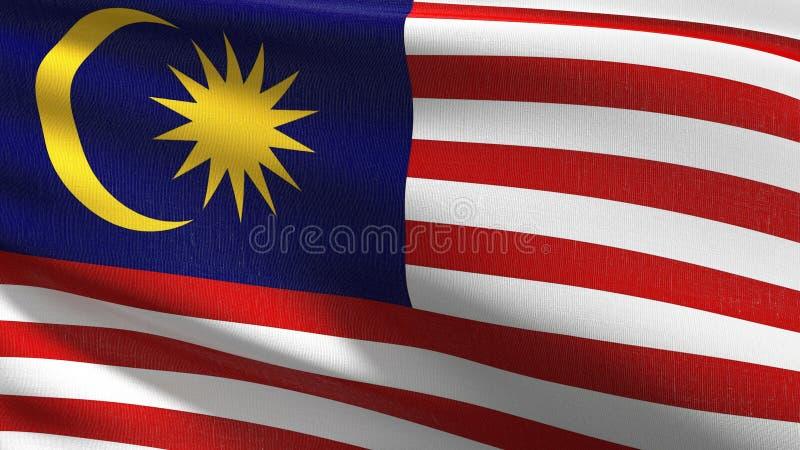 Malaysia nationsflagga som blåser i vinden Officiell patriotisk abstrakt design illustration för tolkning 3D av det vinkande teck vektor illustrationer