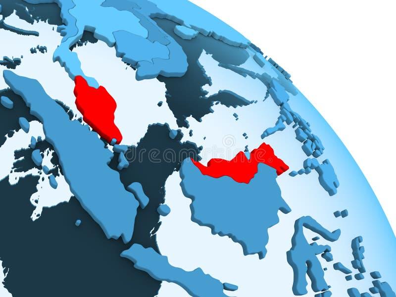 Malaysia på det blåa jordklotet royaltyfri illustrationer