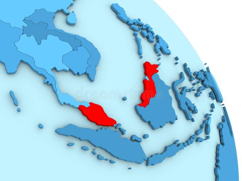 Malaysia på det blåa politiska jordklotet royaltyfri illustrationer