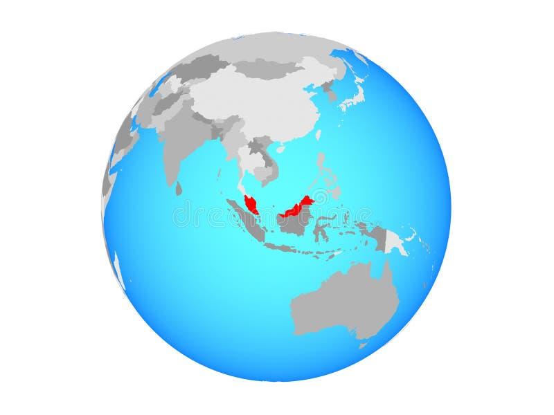 Malaysia på det isolerade jordklotet royaltyfri illustrationer