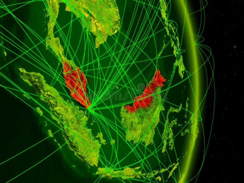 Malaysia på digital jord stock illustrationer