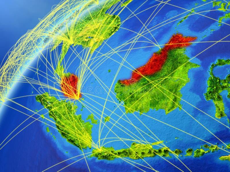 Malaysia på jord med nätverket stock illustrationer