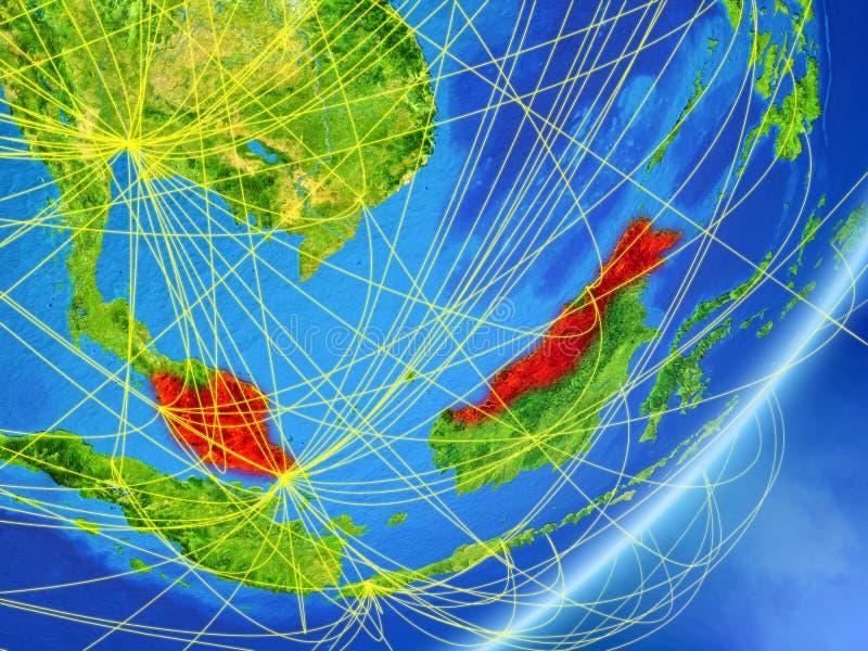Malaysia på jord med nätverket vektor illustrationer