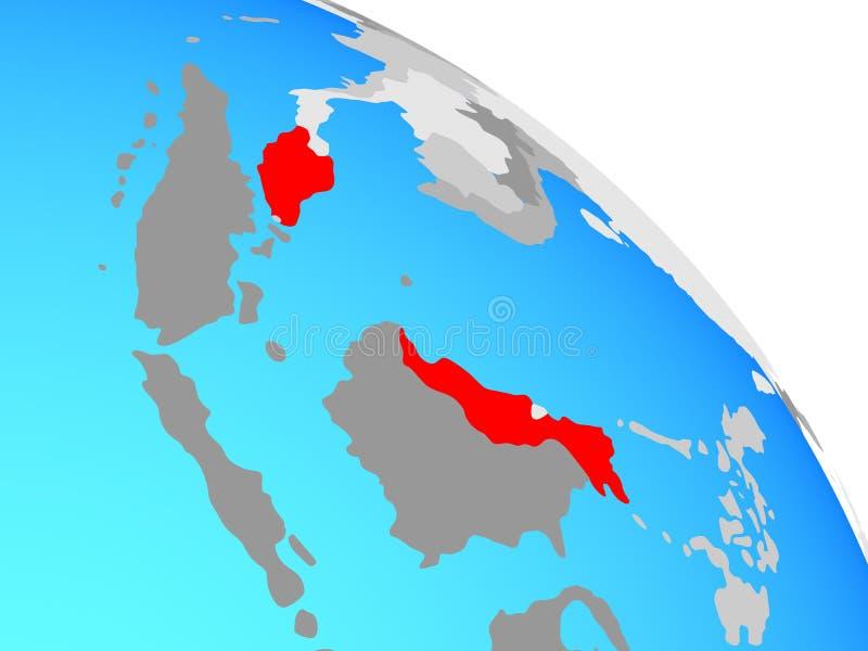 Malaysia på jordklotet royaltyfri illustrationer