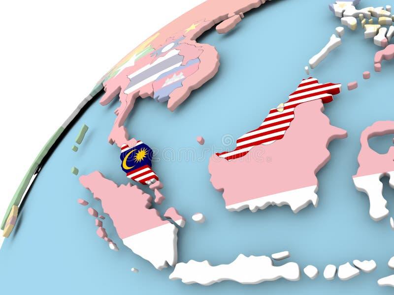 Malaysia på jordklotet med flaggan royaltyfri illustrationer