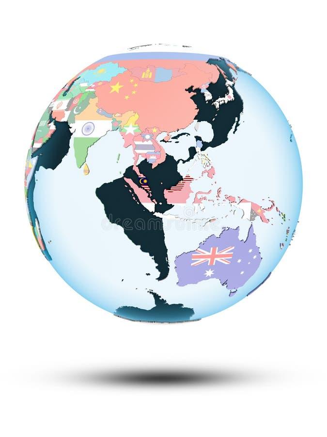 Malaysia på jordklotet med flaggor vektor illustrationer
