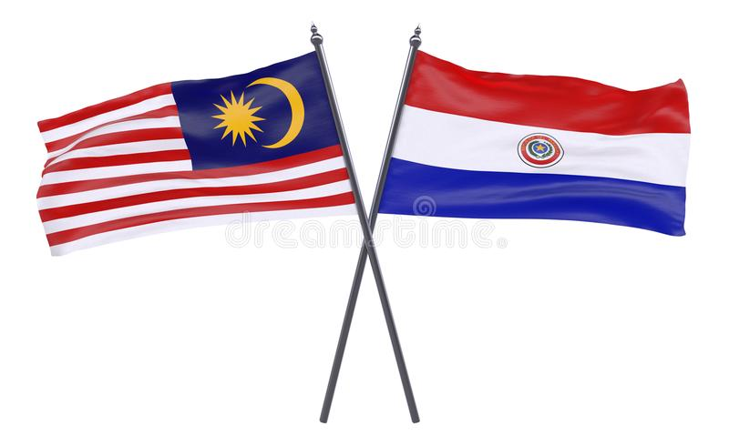 Two crossed flags stock images