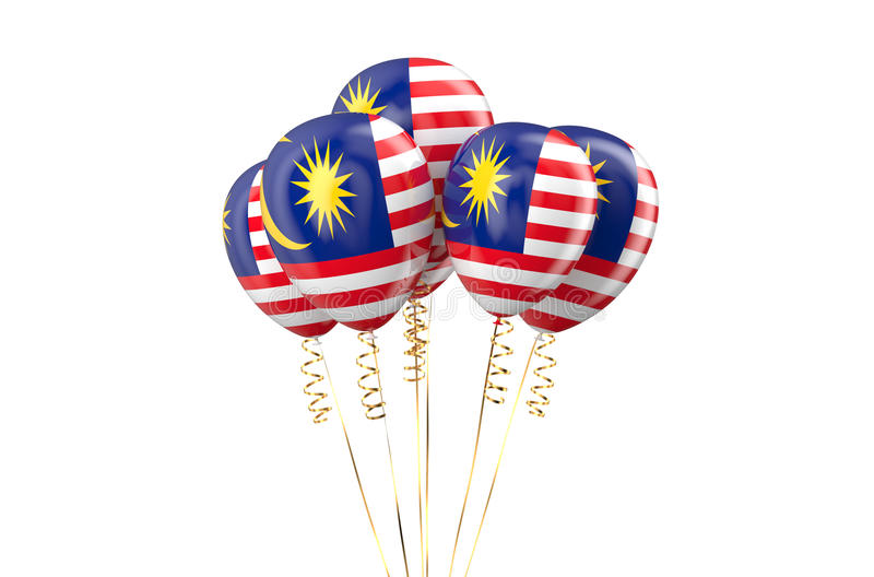 Malaysia patriotic balloons holyday concept. Malaysia patriotic balloons, holyday concept isolated on white background stock illustration