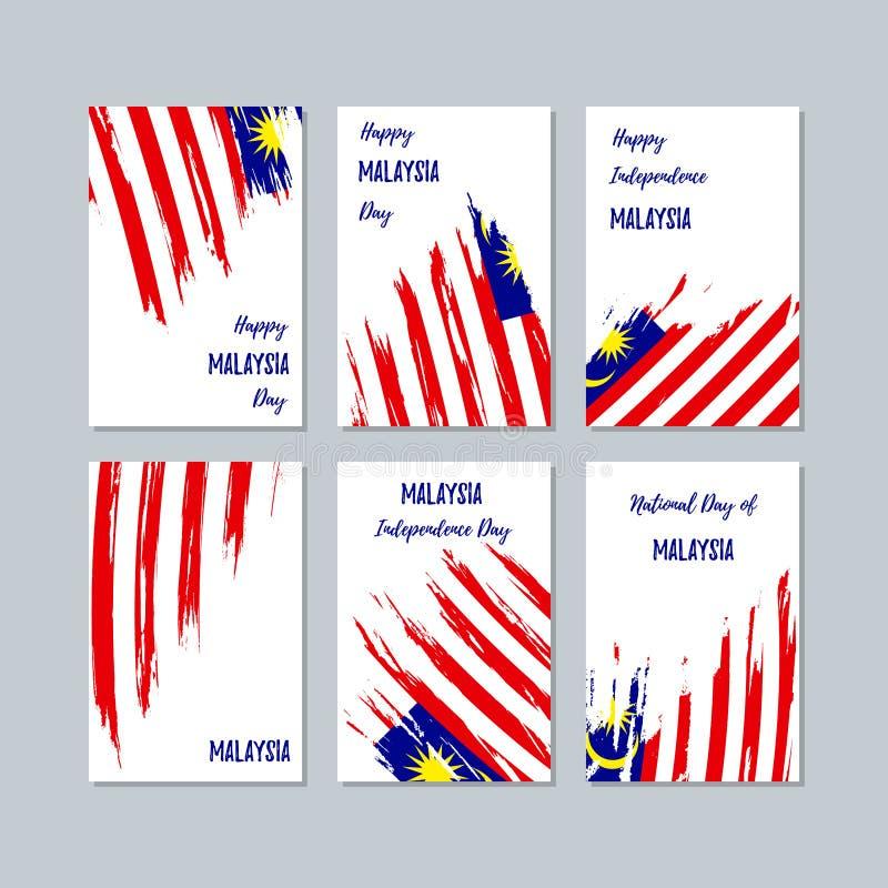 Malaysia patriotiska kort för nationell dag vektor illustrationer