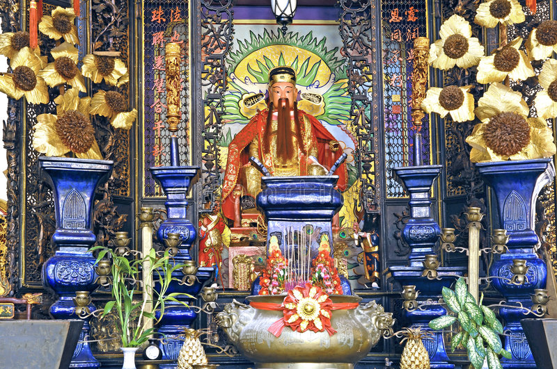 Malaysia, Penang: Chinese temple. Malaysia, Penang: chinese family temple; this image is a detail of the walls decoration stock images