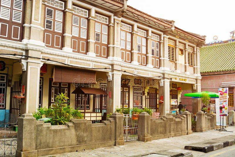 MALAYSIA, PENANG, GEORGETOWN - CIRCA JUL 2014: Beautiful, Colonial style architecture is visible in this old, historical building. royalty free stock images