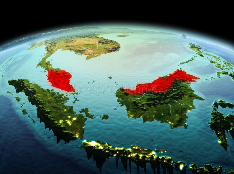 Malaysia on planet Earth in space. Morning above Malaysia highlighted in red on model of planet Earth in space. 3D illustration. Elements of this image furnished stock images