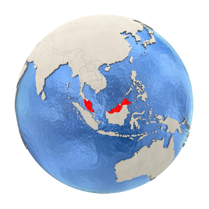 Malaysia in red on full globe isolated on white vector illustration