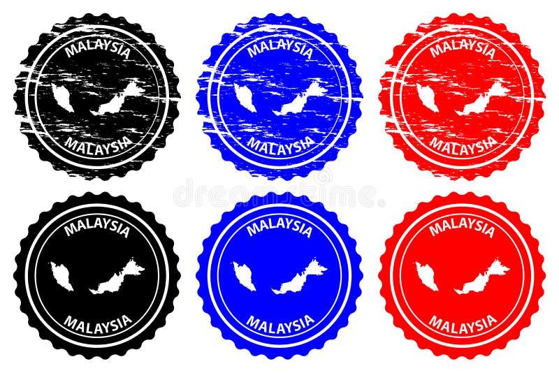 Malaysia rubber stämpel stock illustrationer