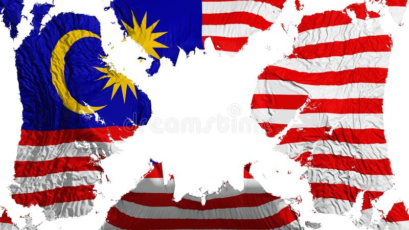 Malaysia sönderriven flagga som fladdrar i vinden royaltyfri illustrationer
